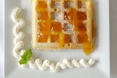 Waffle. Freshl homemade waffle with cream and jam Stock Images