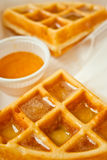 Waffle And Honey On Top Stock Images