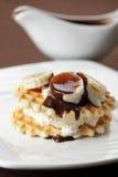 Waffle with banana and chocolate Stock Photo