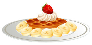 Waffle with banana cream on plate Stock Photo