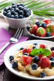 Waffle with berries. Waffle with sweet fruits and vanilla sauce Royalty Free Stock Photos
