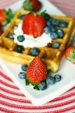 Waffle and berries Royalty Free Stock Images