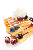 Waffle with berries and cream. Stock Images