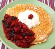 Waffle with berries Stock Images