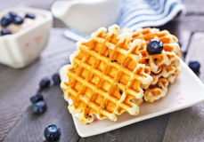 Waffle. With berries on plate Royalty Free Stock Photo