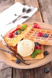 Waffle with berry fruit Royalty Free Stock Photo