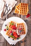 Waffle and berry fruit Stock Photography