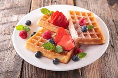 Waffle and berry fruit Royalty Free Stock Images