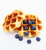 Waffle with berry on white b Royalty Free Stock Photo