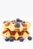 Waffle with berry on white Stock Photos