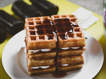 Waffle biscuits with jam close up on plate close up Stock Image