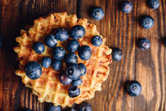 Waffle with Blueberry. Stock Photos