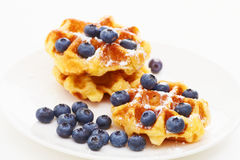 Waffle with blueberry c Royalty Free Stock Image