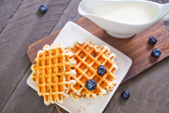 Waffle with blueberry Royalty Free Stock Images