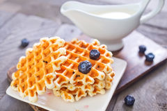 Waffle with blueberry Stock Photo