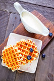 Waffle with blueberry Stock Images