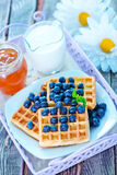 Waffle with blueberry Royalty Free Stock Photos