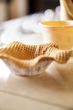 Waffle Bowl On Counter At Ice Cream Parlor Stock Image