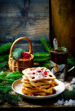 Waffle with bran and cranberry Stock Images