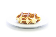Waffle bread fresh glazed texture snack food on white plate Royalty Free Stock Image