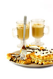 Waffle breakfast and cappuccino Stock Photos