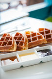 Waffle for breakfast Royalty Free Stock Photography