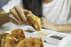 Waffle for breakfast Royalty Free Stock Images