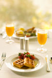Waffle Breakfast With Orange Juice Royalty Free Stock Images