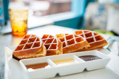 Waffle for breakfast Stock Image