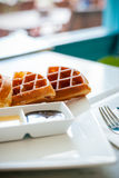 Waffle for breakfast Stock Photography