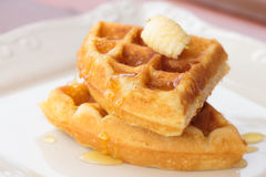 Waffle butter and honey Royalty Free Stock Images