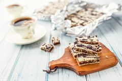 A waffle cake with caramel chocolate and walnuts.Traditional slovak and czech cake grilaz with coffee.  royalty free stock images