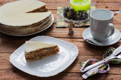 The waffle cake Royalty Free Stock Images