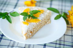 Waffle cake with peaches and cream Royalty Free Stock Images