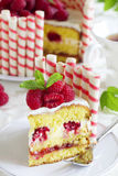 Waffle cake with raspberries Royalty Free Stock Photo