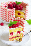 Waffle cake with raspberries Royalty Free Stock Photography