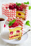 Waffle cake with raspberries Stock Image