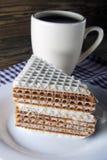 Waffle cake and tea Stock Photos