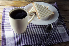 Waffle cake and tea Royalty Free Stock Images