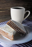 Waffle cake and tea Royalty Free Stock Photos