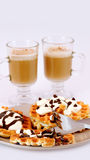 Waffle and cappuccino Royalty Free Stock Photo