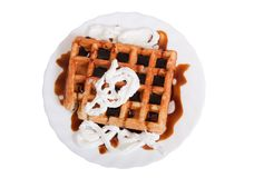 Waffle with caramel and cream Stock Photography