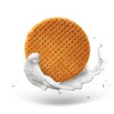 Waffle with caramel iand milk splash Royalty Free Stock Photos