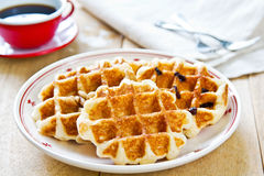 Waffle by Caramel sauce and coffee Royalty Free Stock Photos