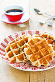 Waffle by Caramel sauce and coffee Stock Photos