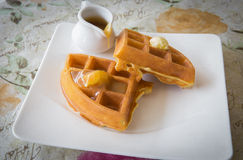 Waffle. With caramel sweet in cafe royalty free stock photo