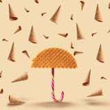 Waffle with caramel Stock Photo