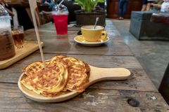 Waffle cheet wood table stock photography