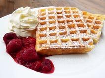 Waffle Beside Cherry and Ice Cream Stock Photo