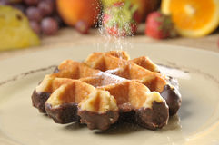 Waffle with chocolate Royalty Free Stock Image